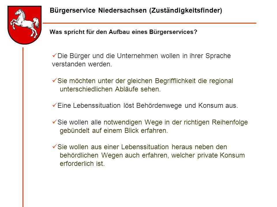 Bürgerservice Niedersachsen (Zuständigkeitsfinder) Was spricht für den Aufbau eines Bürgerservices? Die Bürger und die Unternehmen wollen in ihrer Spr