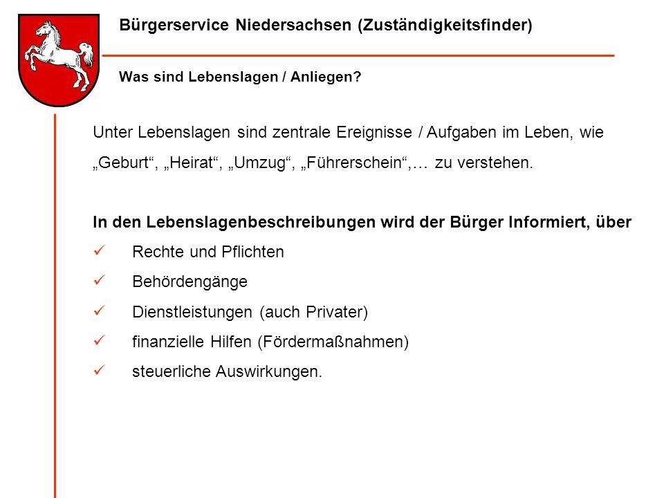 Bürgerservice Niedersachsen (Zuständigkeitsfinder) Was sind Lebenslagen / Anliegen? Unter Lebenslagen sind zentrale Ereignisse / Aufgaben im Leben, wi