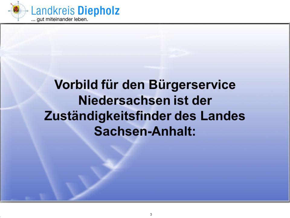 Vorbild für den Bürgerservice Niedersachsen ist der Zuständigkeitsfinder des Landes Sachsen-Anhalt: 3