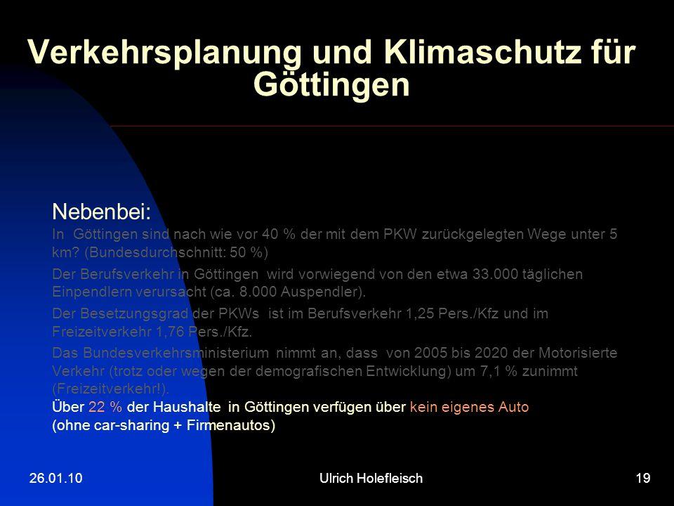 26.01.10Ulrich Holefleisch19 Verkehrsplanung und Klimaschutz für Göttingen Nebenbei: In Göttingen sind nach wie vor 40 % der mit dem PKW zurückgelegten Wege unter 5 km.