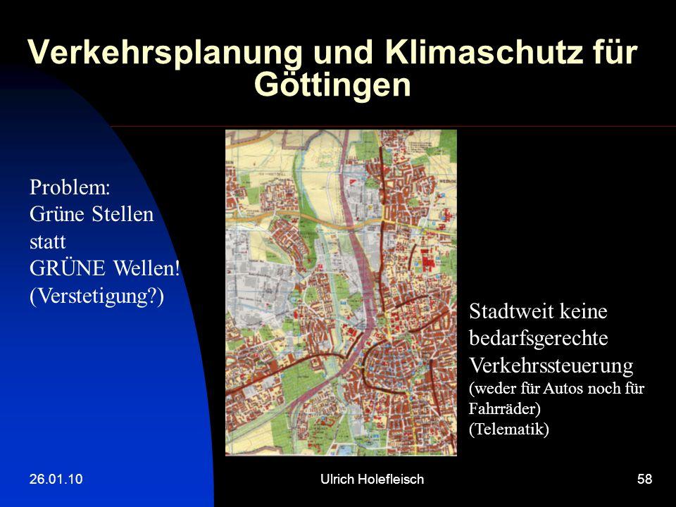 26.01.10Ulrich Holefleisch58 Verkehrsplanung und Klimaschutz für Göttingen Problem: Grüne Stellen statt GRÜNE Wellen! (Verstetigung?) Stadtweit keine