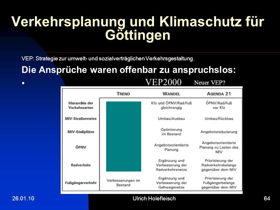 26.01.10Ulrich Holefleisch64 Verkehrsplanung und Klimaschutz für Göttingen VEP: Strategie zur umwelt- und sozialverträglichen Verkehrsgestaltung.