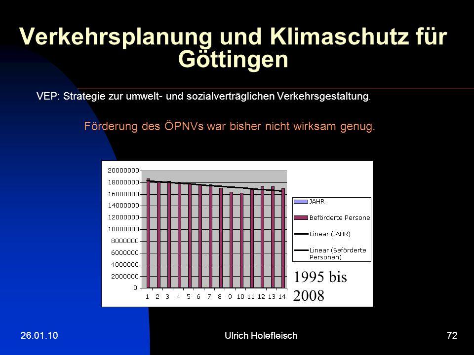 26.01.10Ulrich Holefleisch72 Verkehrsplanung und Klimaschutz für Göttingen VEP: Strategie zur umwelt- und sozialverträglichen Verkehrsgestaltung.