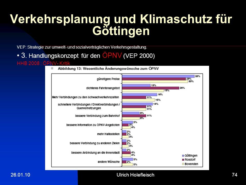 26.01.10Ulrich Holefleisch74 Verkehrsplanung und Klimaschutz für Göttingen VEP: Strategie zur umwelt- und sozialverträglichen Verkehrsgestaltung.