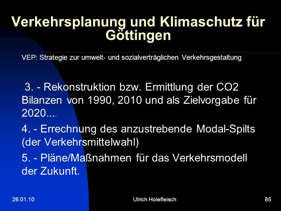 26.01.10Ulrich Holefleisch85 Verkehrsplanung und Klimaschutz für Göttingen VEP: Strategie zur umwelt- und sozialverträglichen Verkehrsgestaltung.