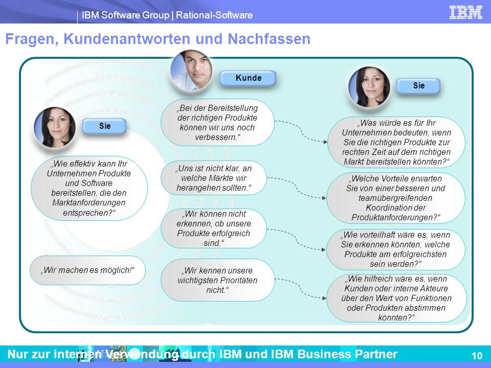 IBM Software Group | Rational-Software 10 Nur zur internen Verwendung durch IBM und IBM Business Partner Fragen, Kundenantworten und Nachfassen Wie ef