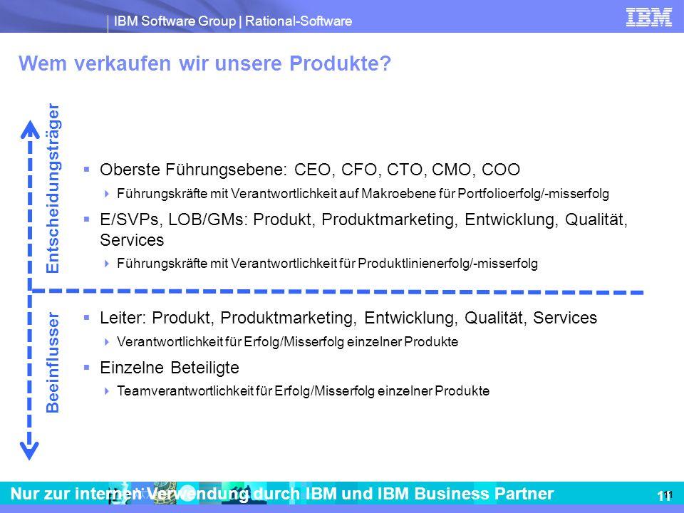 IBM Software Group | Rational-Software 11 Nur zur internen Verwendung durch IBM und IBM Business Partner Wem verkaufen wir unsere Produkte? Oberste Fü