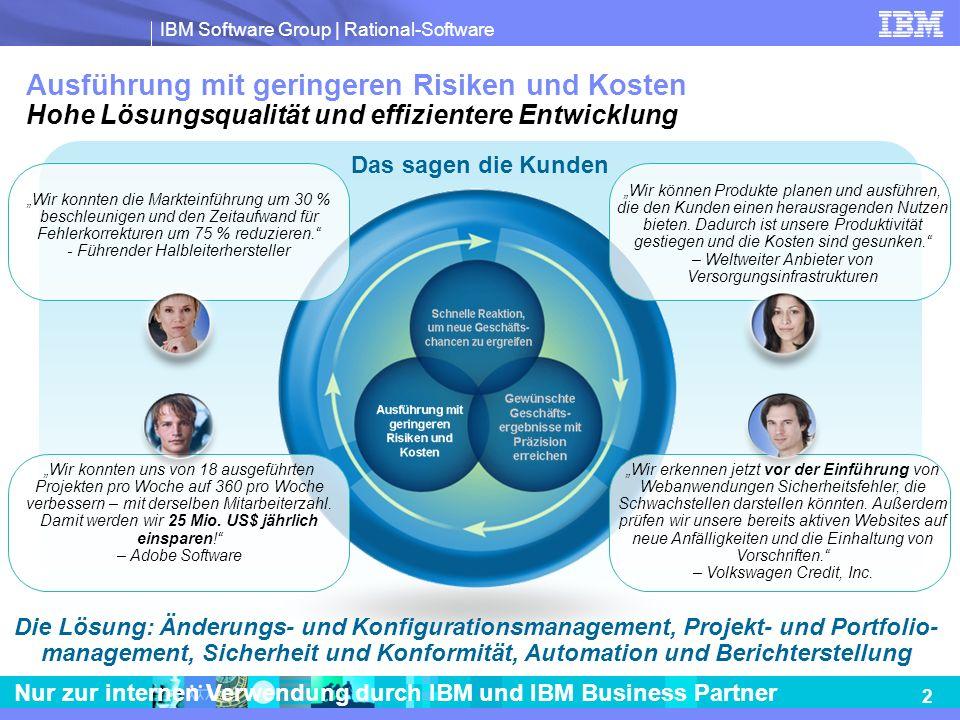 IBM Software Group | Rational-Software 2 Nur zur internen Verwendung durch IBM und IBM Business Partner Ausführung mit geringeren Risiken und Kosten H