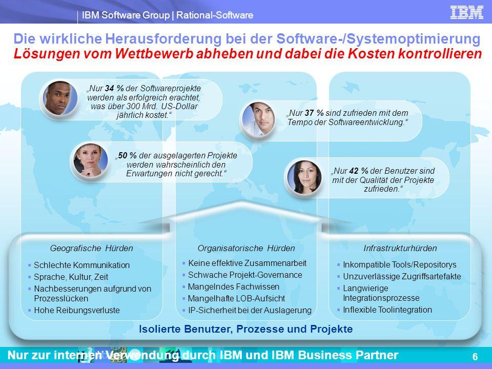 IBM Software Group | Rational-Software 6 Nur zur internen Verwendung durch IBM und IBM Business Partner Nur 34 % der Softwareprojekte werden als erfol