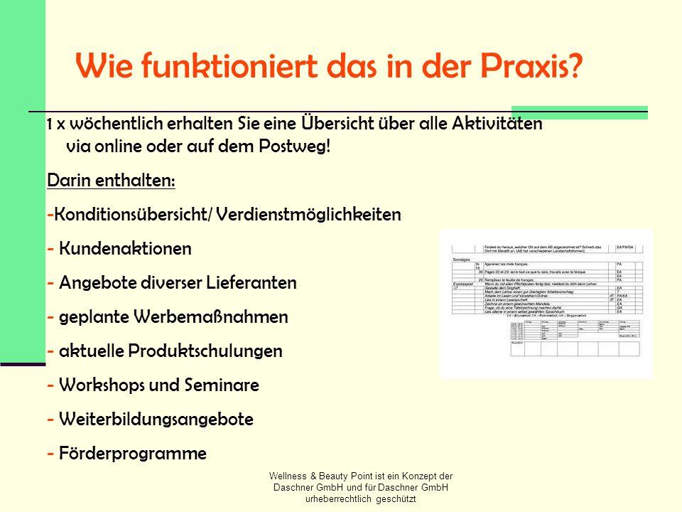 Wellness & Beauty Point ist ein Konzept der Daschner GmbH und für Daschner GmbH urheberrechtlich geschützt Wie funktioniert das in der Praxis? 1 x wöc