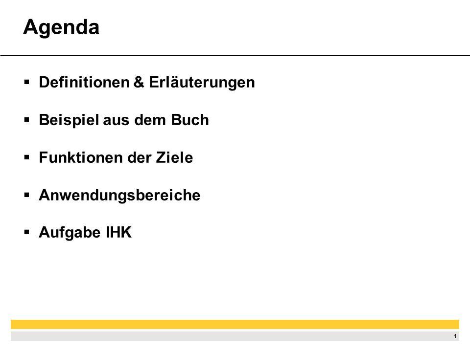 1 Agenda Definitionen & Erläuterungen Beispiel aus dem Buch Funktionen der Ziele Anwendungsbereiche Aufgabe IHK