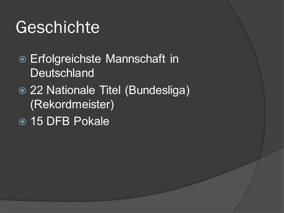 Geschichte Erfolgreichste Mannschaft in Deutschland 22 Nationale Titel (Bundesliga) (Rekordmeister) 15 DFB Pokale
