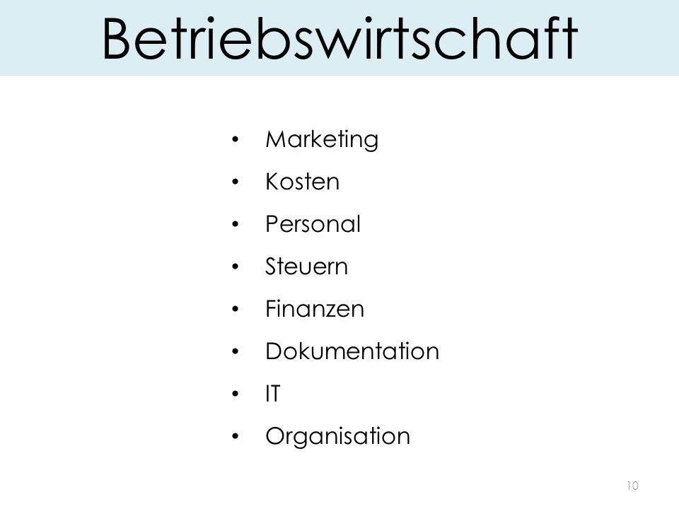 10 Betriebswirtschaft Marketing Kosten Personal Steuern Finanzen Dokumentation IT Organisation