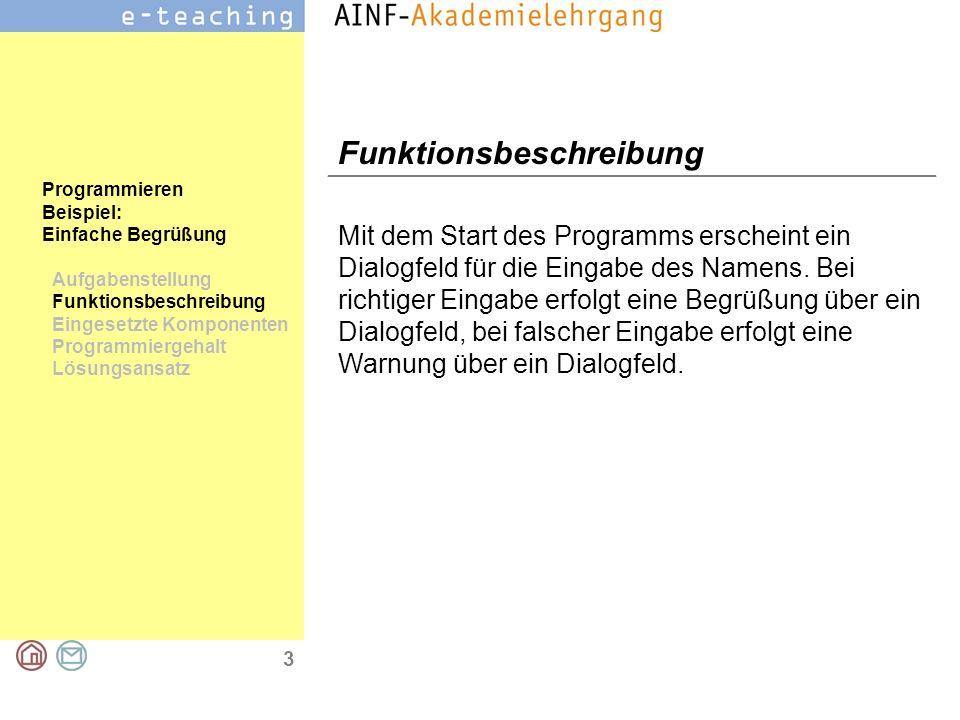 4 Programmieren Beispiel: Einfache Begrüßung Aufgabenstellung Funktionsbeschreibung Eingesetzte Komponenten Programmiergehalt Lösungsansatz Eingesetzte Komponenten Dialogfeld (MessageBox) Dialogfeld (Inputbox) Befehlsschaltfläche (CommandButton)