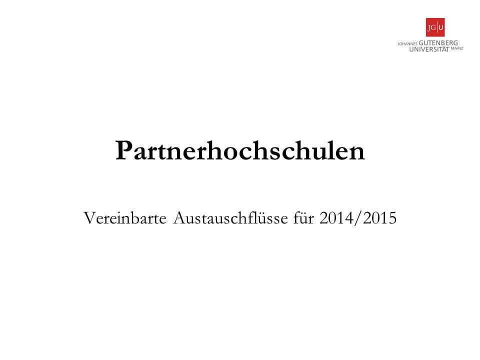 Partnerhochschulen Vereinbarte Austauschflüsse für 2014/2015