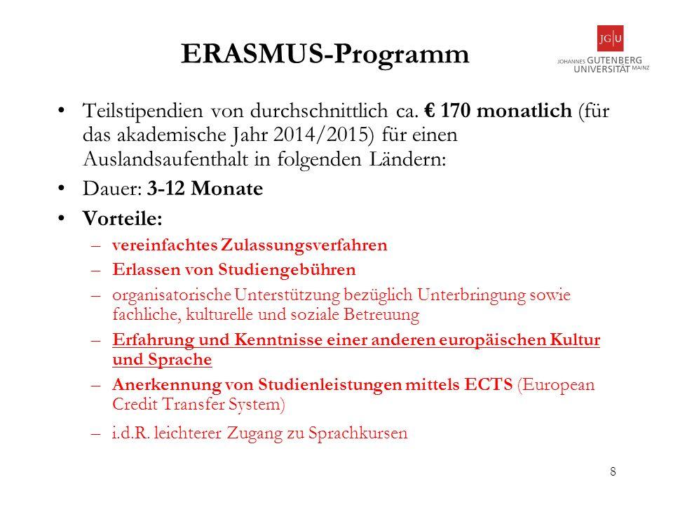 9 Bewerbungsvoraussetzungen Immatrikulation als ordentliche/r Studierende/r mit Abschluss an der Uni Mainz (die deutsche Staatsangehörigkeit ist keine Zulassungsvoraussetzung mehr); angestrebter Abschluss in Deutschland zwei abgeschlossene Hochschulsemester zu Antritt des Auslandsaufenthalts (Ausnahme: Studierende in MA Studiengängen); alte Studiengänge: abgeschlossenes Grundstudium (ebenfalls zu Antritt des Auslandsaufenthalts) Bewerbung im Rahmen eines Abkommens über jedes Fach, für das man eingeschrieben ist ausreichende Kenntnisse (Mittelstufenniveau) der Sprache des Gastlandes (Ausnahme: englischsprachige Studiengänge, z.B.