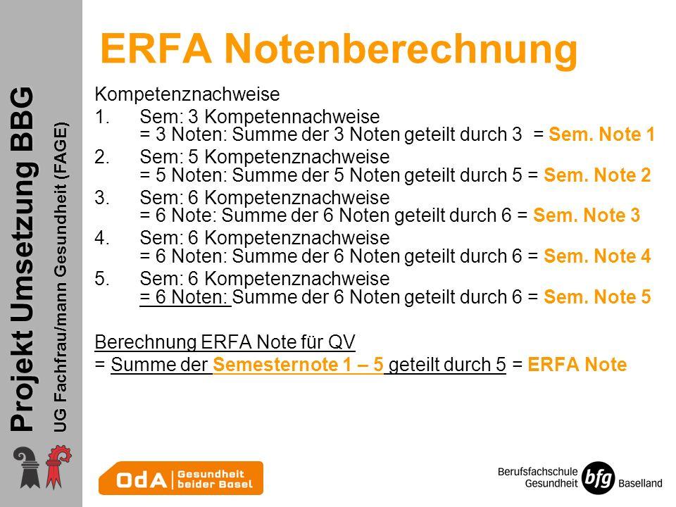 Projekt Umsetzung BBG UG Fachfrau/mann Gesundheit (FAGE) ERFA Notenberechnung Kompetenznachweise 1.Sem: 3 Kompetennachweise = 3 Noten: Summe der 3 Not