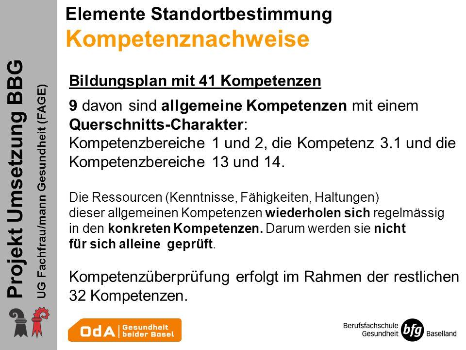 Projekt Umsetzung BBG UG Fachfrau/mann Gesundheit (FAGE) Schullehrplan 1.