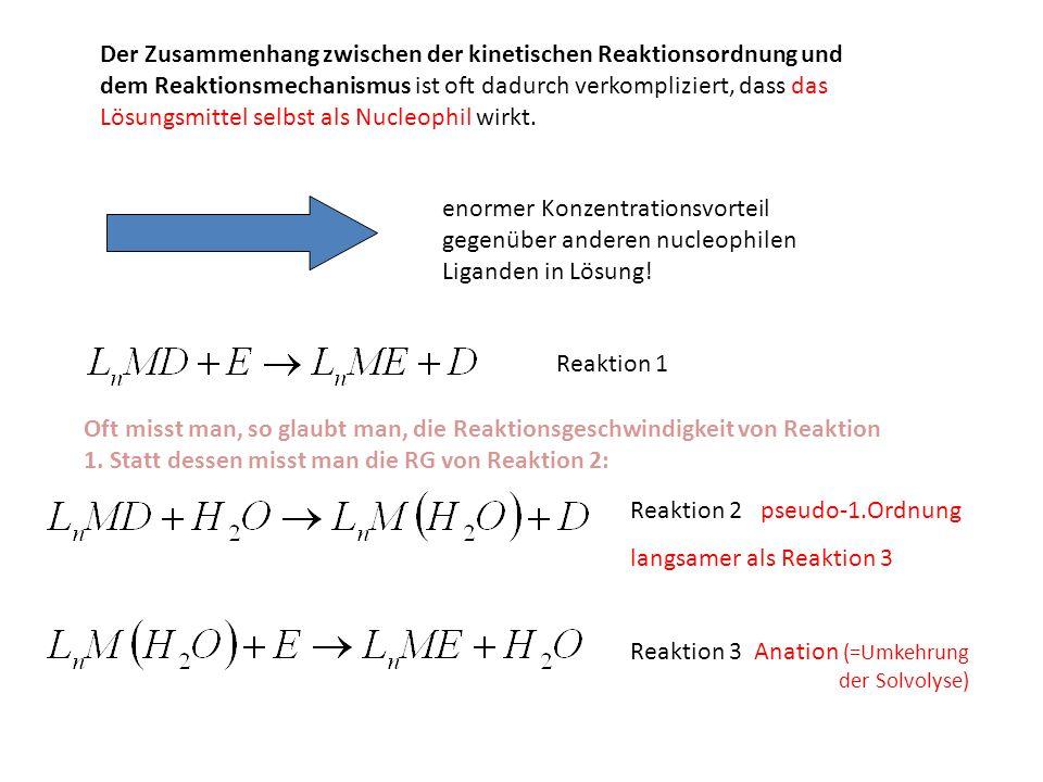 Der Zusammenhang zwischen der kinetischen Reaktionsordnung und dem Reaktionsmechanismus ist oft dadurch verkompliziert, dass das Lösungsmittel selbst