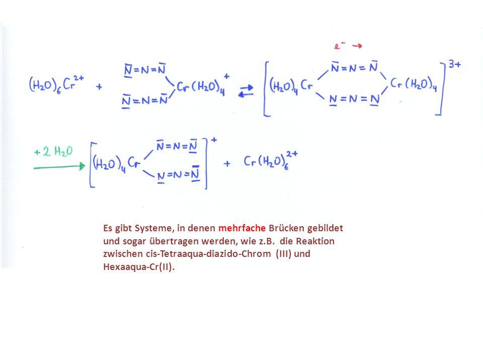 Es gibt Systeme, in denen mehrfache Brücken gebildet und sogar übertragen werden, wie z.B. die Reaktion zwischen cis-Tetraaqua-diazido-Chrom (III) und