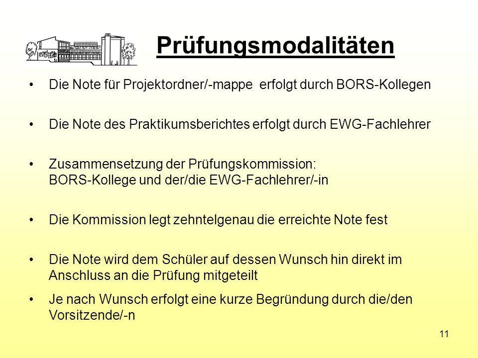 Die Note für Projektordner/-mappe erfolgt durch BORS-Kollegen Die Note des Praktikumsberichtes erfolgt durch EWG-Fachlehrer Zusammensetzung der Prüfun