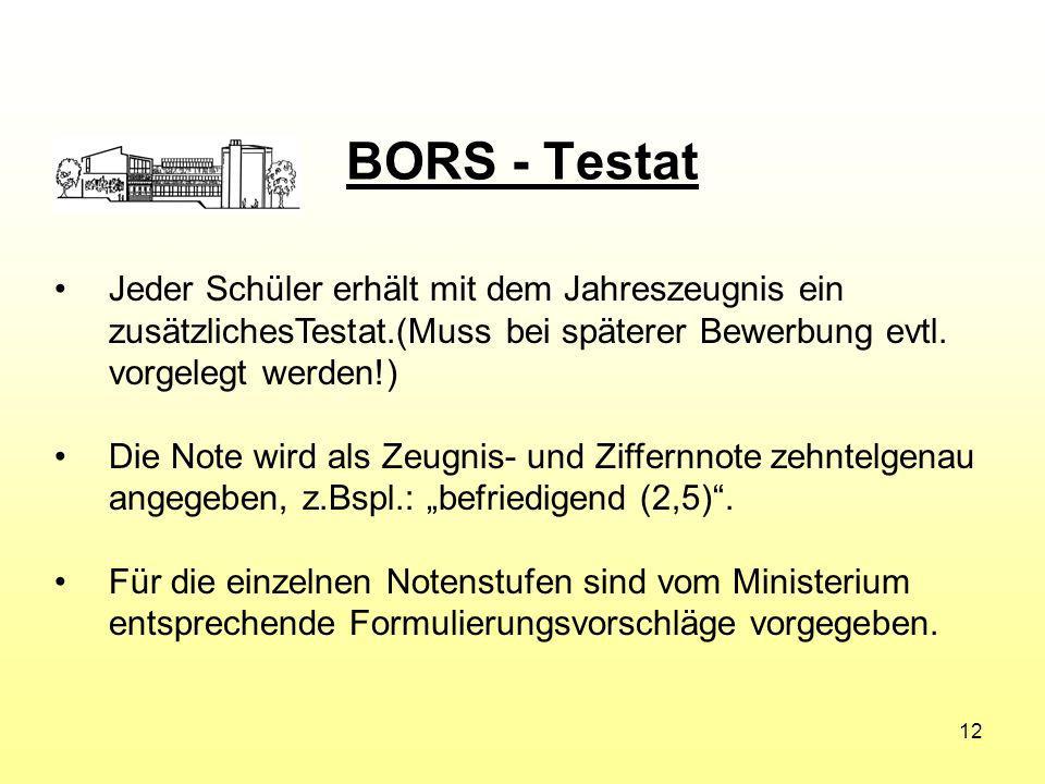 BORS - Testat Jeder Schüler erhält mit dem Jahreszeugnis ein zusätzlichesTestat.(Muss bei späterer Bewerbung evtl.