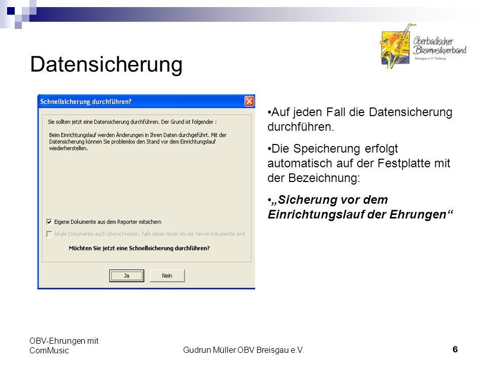 Gudrun Müller OBV Breisgau e.V.7 OBV-Ehrungen mit ComMusic Reporterfenster mit den Proforma-Ehrungen