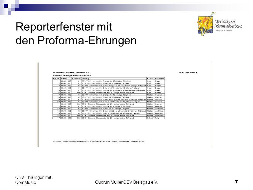 Gudrun Müller OBV Breisgau e.V.8 OBV-Ehrungen mit ComMusic Ehrungsanträge erstellen