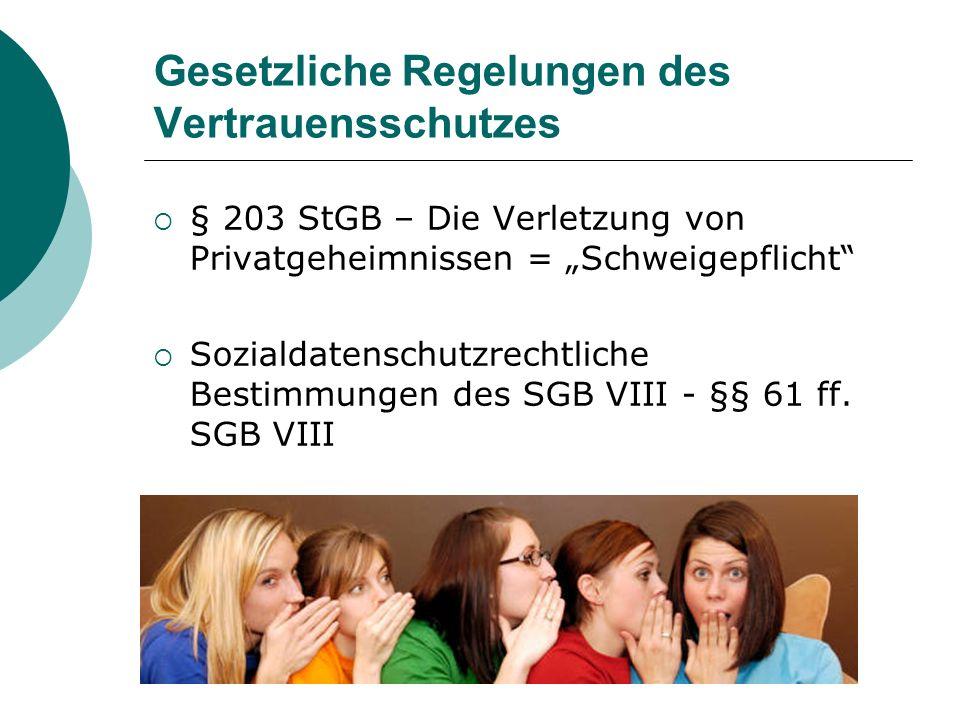 Gesetzliche Regelungen des Vertrauensschutzes § 203 StGB – Die Verletzung von Privatgeheimnissen = Schweigepflicht Sozialdatenschutzrechtliche Bestimmungen des SGB VIII - §§ 61 ff.