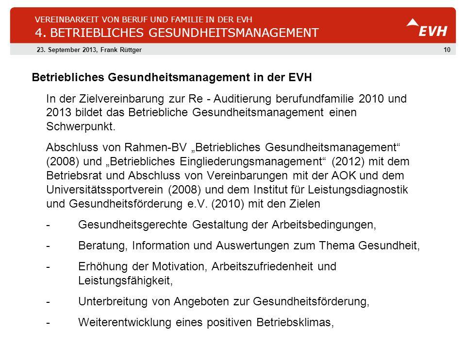 1023. September 2013, Frank Rüttger VEREINBARKEIT VON BERUF UND FAMILIE IN DER EVH 4. BETRIEBLICHES GESUNDHEITSMANAGEMENT Betriebliches Gesundheitsman