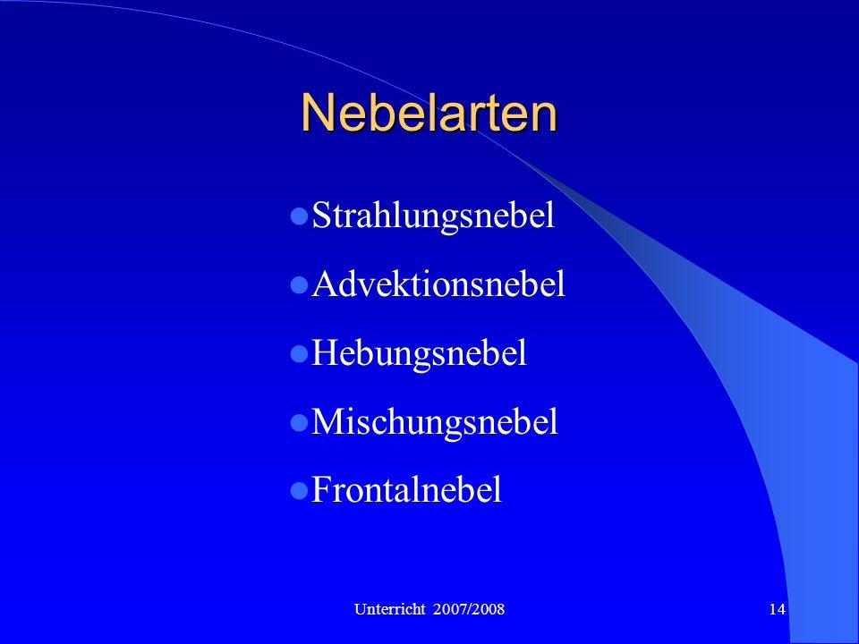 Unterricht 2007/200814 Nebelarten Strahlungsnebel Advektionsnebel Hebungsnebel Mischungsnebel Frontalnebel