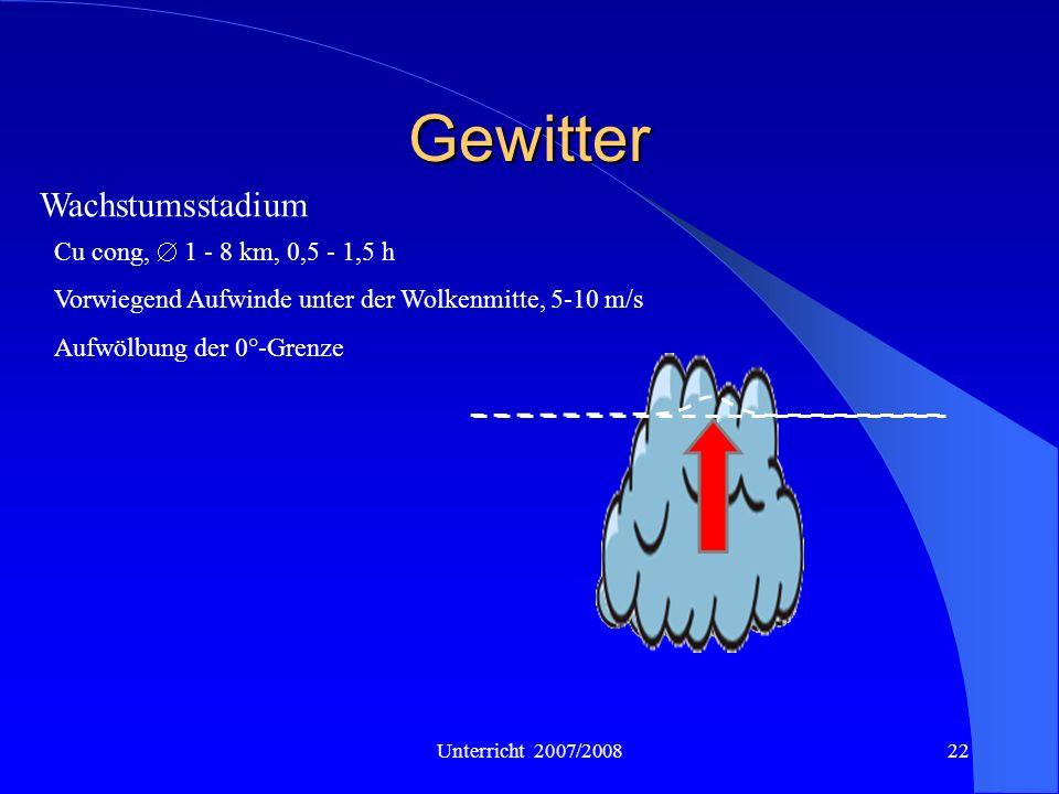 Unterricht 2007/200822 Gewitter Wachstumsstadium Cu cong, 1 - 8 km, 0,5 - 1,5 h Vorwiegend Aufwinde unter der Wolkenmitte, 5-10 m/s Aufwölbung der 0°-