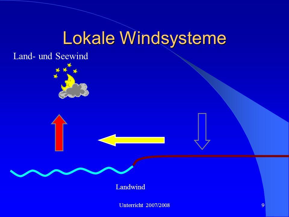 Unterricht 2007/20089 Lokale Windsysteme Land- und Seewind Landwind