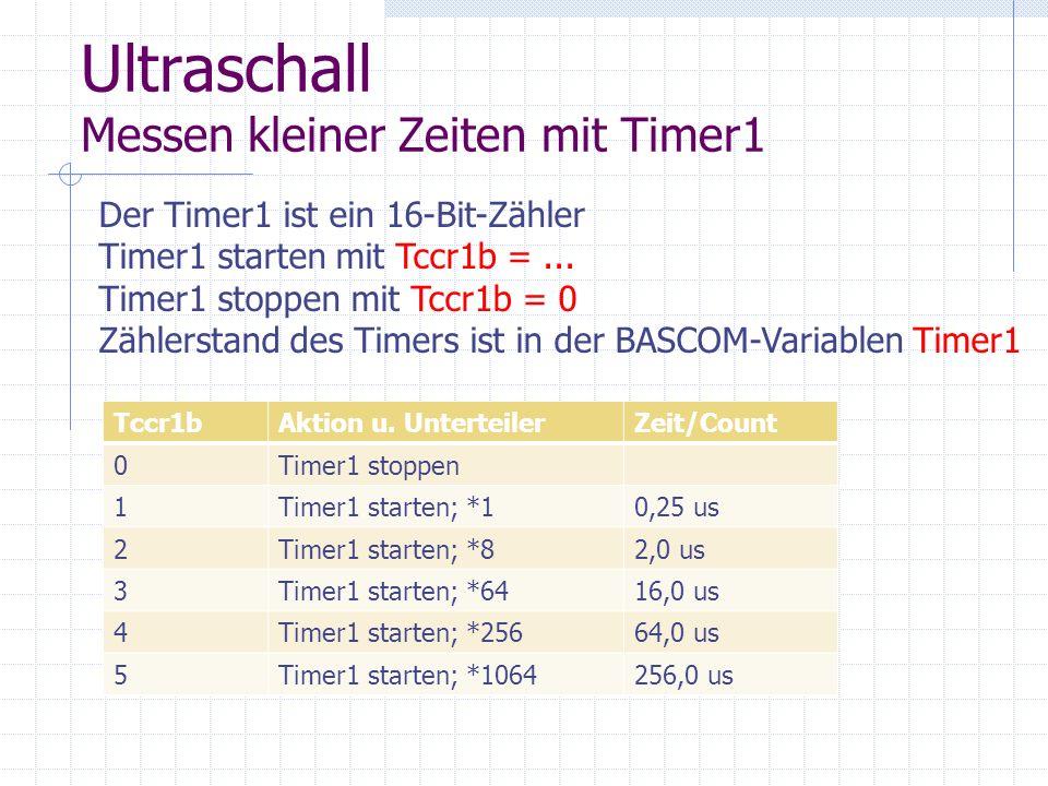 Ultraschall Messen kleiner Zeiten mit Timer1 Der Timer1 ist ein 16-Bit-Zähler Timer1 starten mit Tccr1b =... Timer1 stoppen mit Tccr1b = 0 Zählerstand