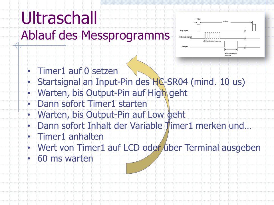 Ultraschall Ablauf des Messprogramms Timer1 auf 0 setzen Startsignal an Input-Pin des HC-SR04 (mind. 10 us) Warten, bis Output-Pin auf High geht Dann