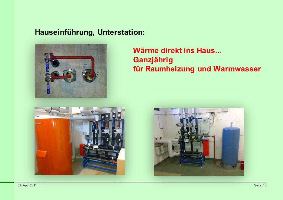 01. April 2011Seite: 10 Hauseinführung, Unterstation: Wärme direkt ins Haus... Ganzjährig für Raumheizung und Warmwasser