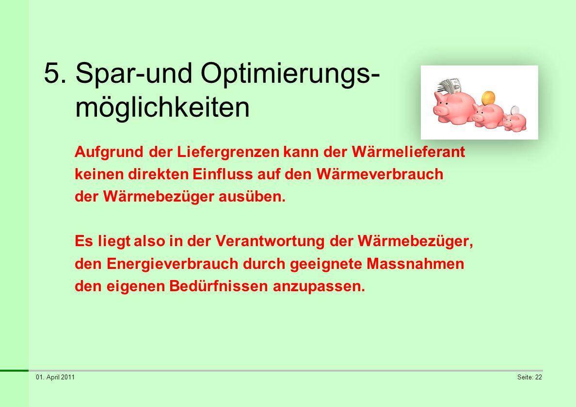 01. April 2011Seite: 22 5. Spar-und Optimierungs- möglichkeiten Aufgrund der Liefergrenzen kann der Wärmelieferant keinen direkten Einfluss auf den Wä