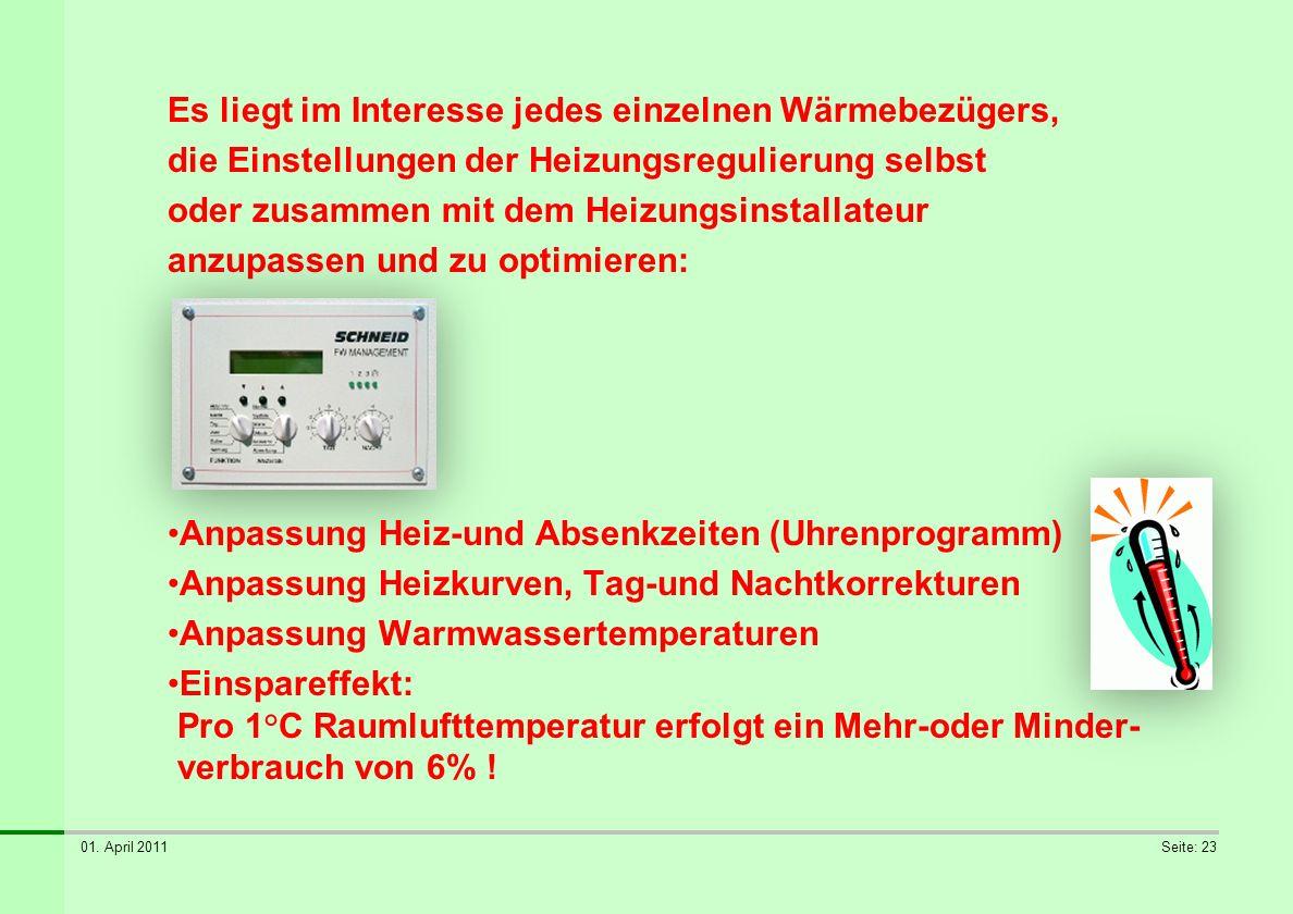 01. April 2011Seite: 23 Es liegt im Interesse jedes einzelnen Wärmebezügers, die Einstellungen der Heizungsregulierung selbst oder zusammen mit dem He