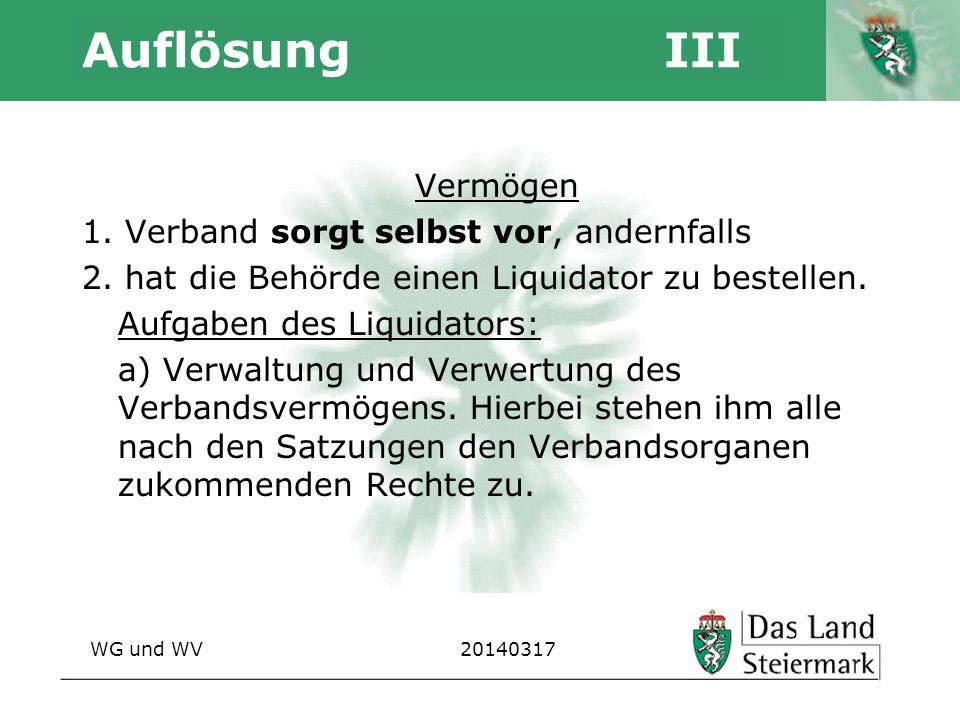 Autor Auflösung III Vermögen 1. Verband sorgt selbst vor, andernfalls 2. hat die Behörde einen Liquidator zu bestellen. Aufgaben des Liquidators: a) V