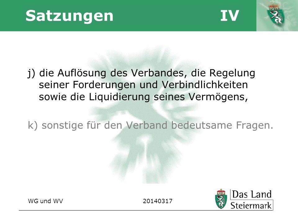 Autor Satzungen IV j) die Auflösung des Verbandes, die Regelung seiner Forderungen und Verbindlichkeiten sowie die Liquidierung seines Vermögens, k) s