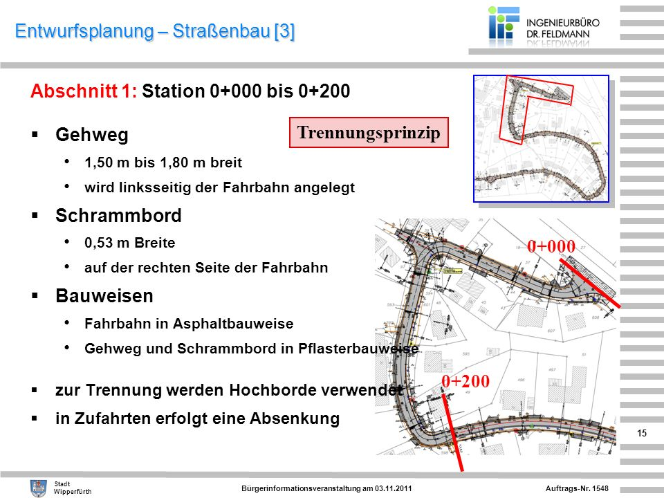 Auftrags-Nr. 1548 Stadt Wipperfürth Bürgerinformationsveranstaltung am 03.11.2011 15 Entwurfsplanung – Straßenbau [3] Abschnitt 1: Station 0+000 bis 0