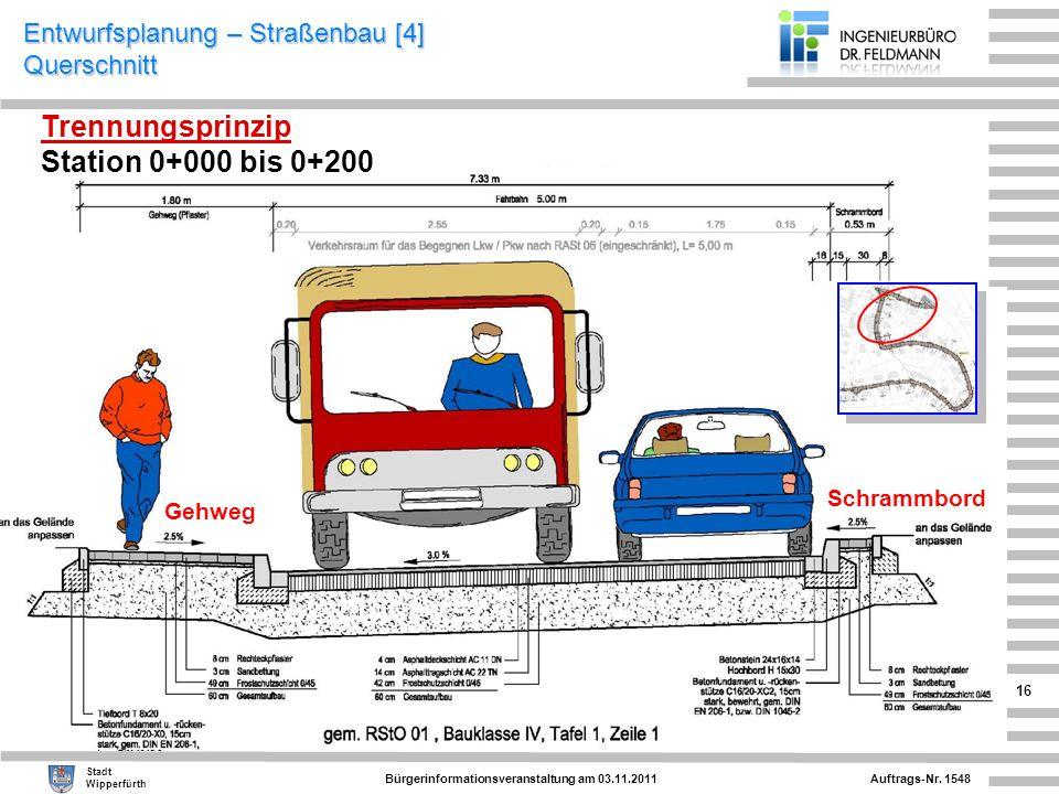 Auftrags-Nr. 1548 Stadt Wipperfürth Bürgerinformationsveranstaltung am 03.11.2011 16 Entwurfsplanung – Straßenbau [4] Querschnitt Gehweg Schrammbord T