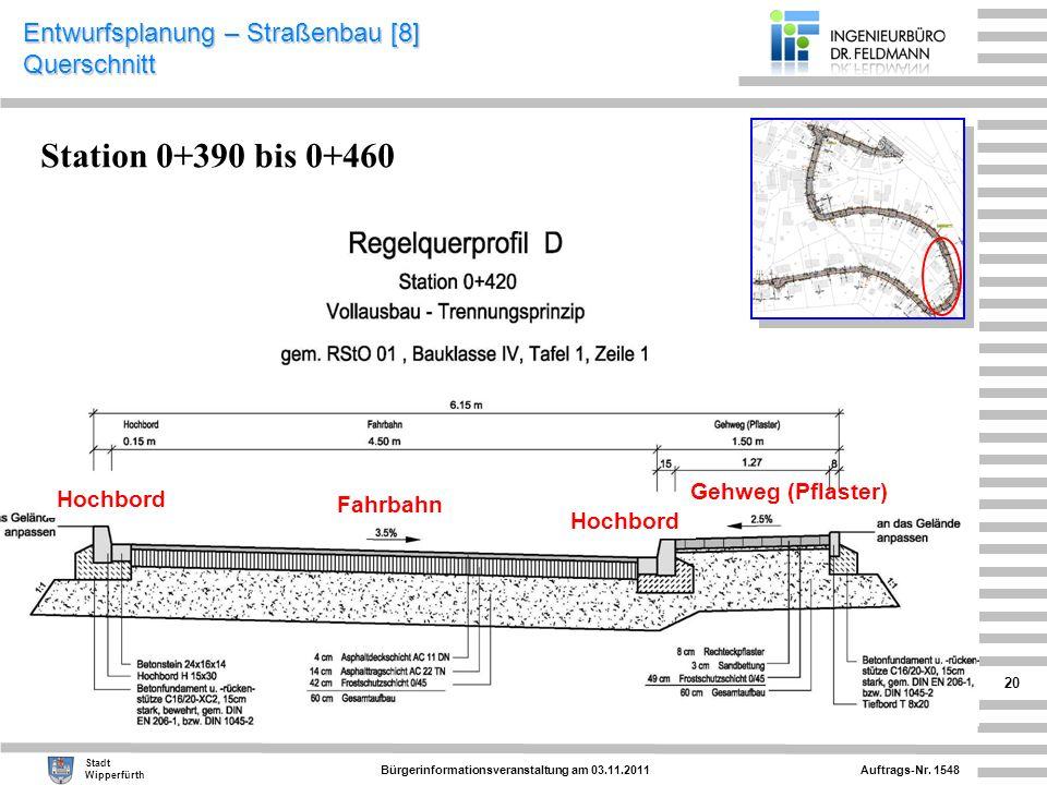 Auftrags-Nr. 1548 Stadt Wipperfürth Bürgerinformationsveranstaltung am 03.11.2011 20 Entwurfsplanung – Straßenbau [8] Querschnitt Fahrbahn Gehweg (Pfl