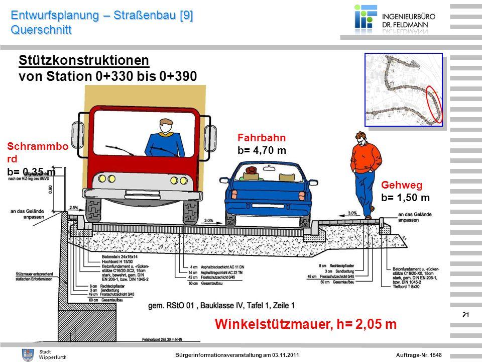 Auftrags-Nr. 1548 Stadt Wipperfürth Bürgerinformationsveranstaltung am 03.11.2011 21 Entwurfsplanung – Straßenbau [9] Querschnitt Stützkonstruktionen