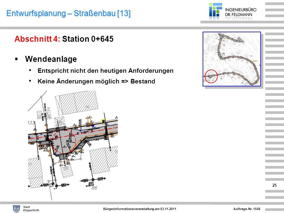 Auftrags-Nr. 1548 Stadt Wipperfürth Bürgerinformationsveranstaltung am 03.11.2011 25 Entwurfsplanung – Straßenbau [13] Abschnitt 4: Station 0+645 Wend