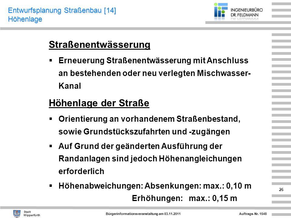 Auftrags-Nr. 1548 Stadt Wipperfürth Bürgerinformationsveranstaltung am 03.11.2011 26 Straßenentwässerung Erneuerung Straßenentwässerung mit Anschluss