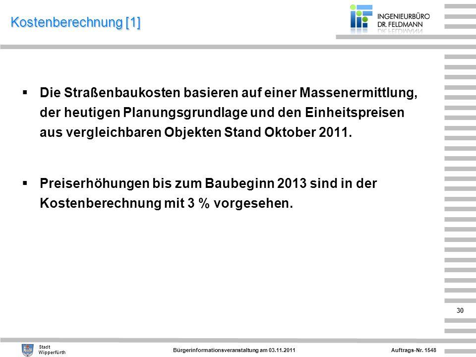 Auftrags-Nr. 1548 Stadt Wipperfürth Bürgerinformationsveranstaltung am 03.11.2011 30 Kostenberechnung [1] Die Straßenbaukosten basieren auf einer Mass