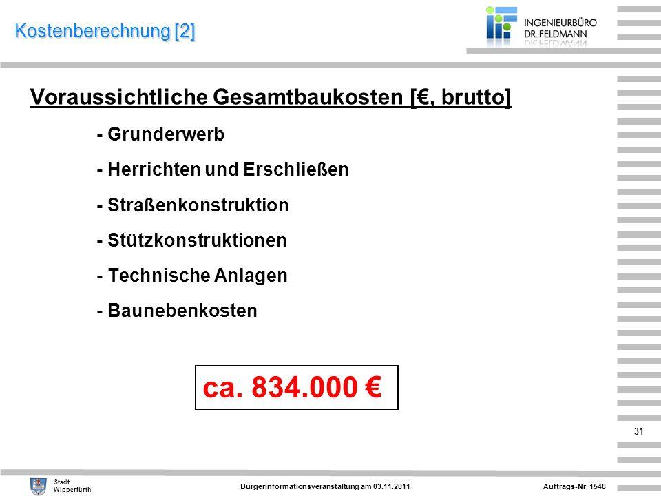 Auftrags-Nr. 1548 Stadt Wipperfürth Bürgerinformationsveranstaltung am 03.11.2011 31 Kostenberechnung [2] Voraussichtliche Gesamtbaukosten [, brutto]