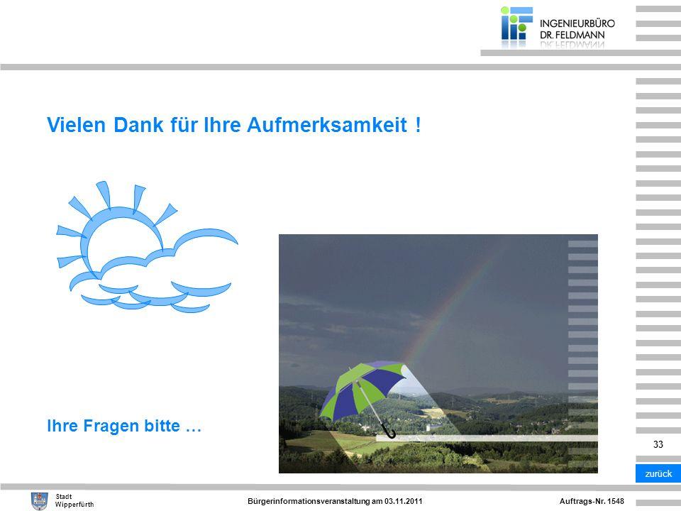 Auftrags-Nr. 1548 Stadt Wipperfürth Bürgerinformationsveranstaltung am 03.11.2011 33 Vielen Dank für Ihre Aufmerksamkeit ! Ihre Fragen bitte … zurück