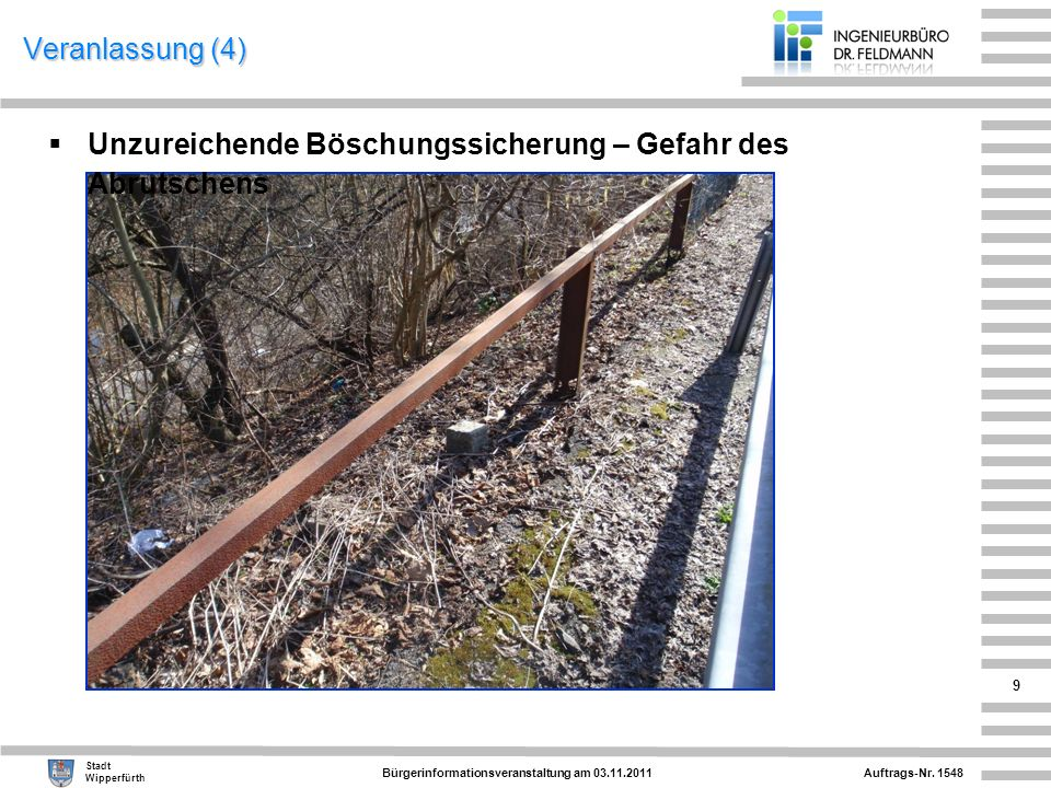 Auftrags-Nr. 1548 Stadt Wipperfürth Bürgerinformationsveranstaltung am 03.11.2011 9 Veranlassung (4) Unzureichende Böschungssicherung – Gefahr des Abr
